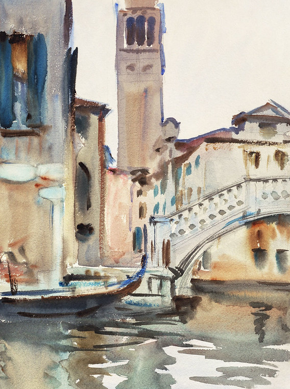A Bridge and Campanile, Venice (ca. 1902-1904) by John Singer Sargent. Original from The National Gallery of Art.