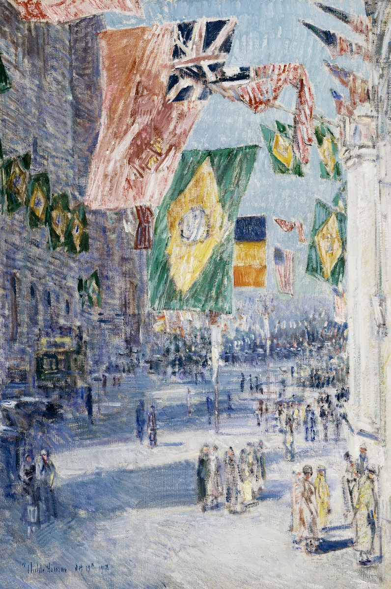 Avenue of the Allies Brazil, Belgium (1918) by Frederick Childe Hassam. Original from The Los Angeles County Museum of Art.