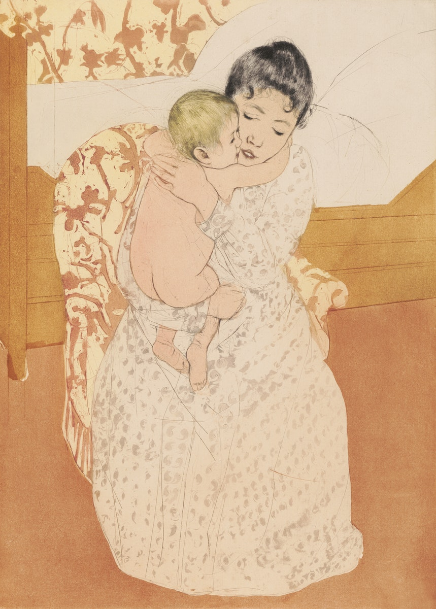 Maternal Caress illustration by Mary Cassatt (1844 - 1926). Original from Library of Congress.