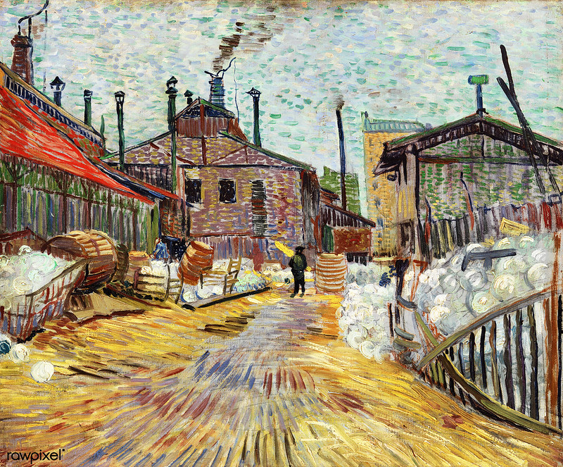 The Factory (1887) by Vincent Van Gogh. Original from the Barnes Foundation.