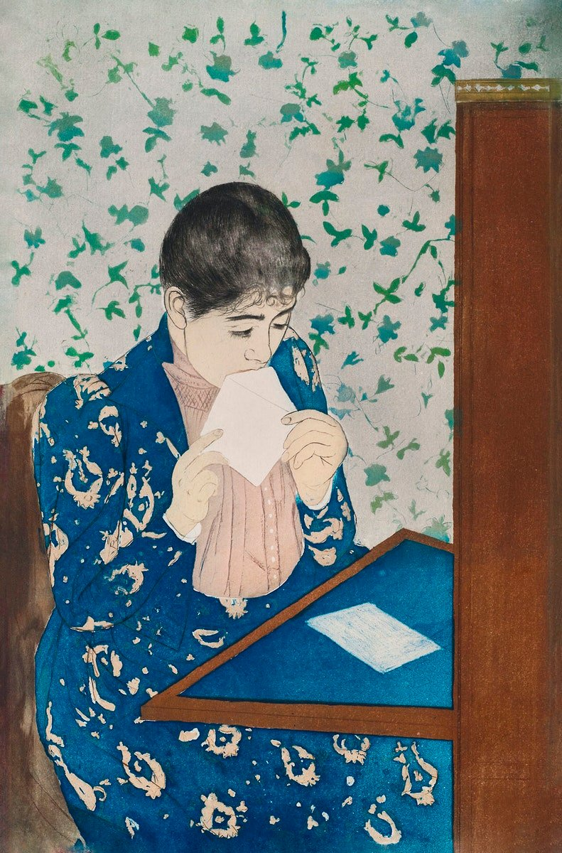 The Letter (1890 - 1891) by Mary Cassatt. Original woman portrait painting from The Art Institute of Chicago.