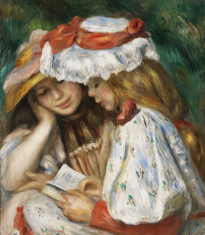 Two Girls Reading (c. 1890-1891) by Pierre-Auguste Renoir. Original from The Los Angeles County Museum of Art.